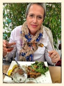 Enjoying a lunch of fried eel.